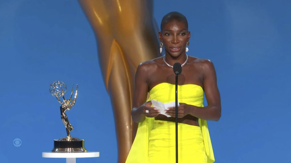 """Michaela Coel accepts the award for outstanding writing for a limited or anthology series or movie for """"I May Destroy You"""" during the Primetime Emmy Awards. (Television Academy via  The Associated Press)"""
