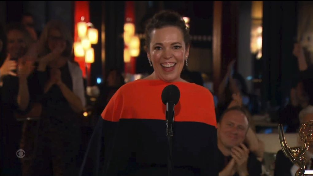 """Olivia Colman accepts the award for outstanding lead actress in a drama series for """"The Crown"""" during the Primetime Emmy Awards. (Television Academy via  The Associated Press)"""