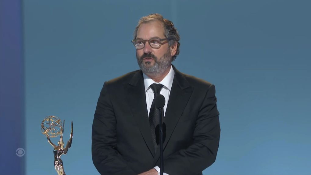 """Scott Frank accepts the award for outstanding directing for a limited or anthology series or movie for """"The Queen's Gambit"""" during the Primetime Emmy Awards. (Television Academy via The Associated Press)"""