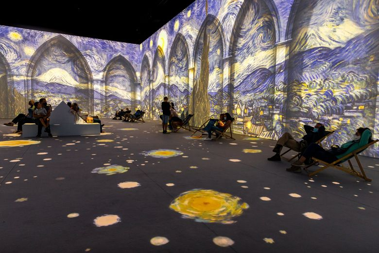 """""""Van Gogh: The Immersive Experience,"""" a large-scale digital art installation featuring the work of 19th-century post-impressionist painter Vincent Van Gogh, was supposed to open in Seattle in September. However, the opening has been delayed, and it's unclear when it will start and where it will be. (Courtesy of Steven Hendrix)"""