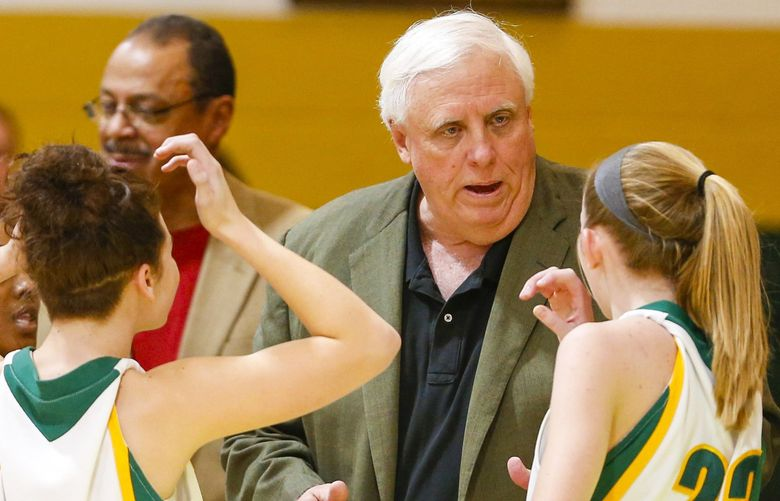 West Virginia Gov-elect, Jim Justice talks to his team during a time out of a girls high school basketball game in Lewisburg, W.Va., Tuesday, Dec. 13, 2016. Justice vows to keep coaching the boy's and girl's teams after he is inaugurated on Jan. 16. (AP Photo/Steve Helber) OTKSH102