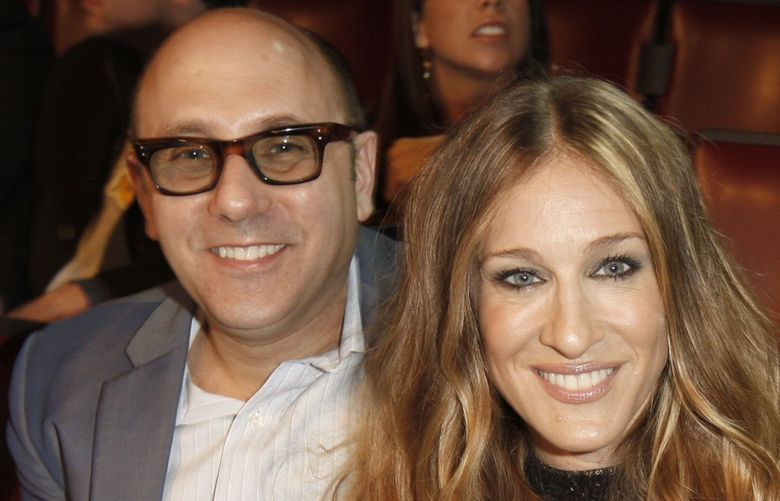 """FILE – Actress Sarah Jessica Parker, right, and actor Willie Garson appear at the MTV Movie Awards in Los Angeles on June 1, 2008. Garson, who played Stanford Blatch on TV's """"Sex and the City"""" and its movie sequels, has died, his son announced Tuesday, Sept. 21, 2021. He was 57.  (AP Photo/Matt Sayles, File) NYET294 NYET294"""