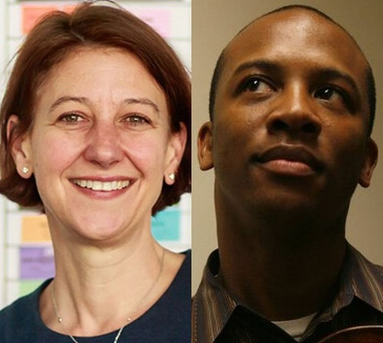 """Quinton Morris and Sarah Wilkes resigned from their positions as co-chair of the Seattle Arts Commission this week out of """"grave concern"""" for what they characterized as Seattle mayor Jenny Durkan's decision to that appoint Royal Alley-Barnes as the new acting director for the Office of Arts and Culture without including """"any input or involvement from the Arts Commission or arts and cultural community members."""" (Erika Schultz and Thomas James Hurst / The Seattle Times)"""