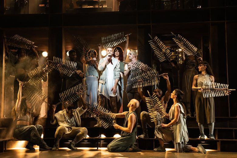 """Aaron LaVigne and the company of the North American tour of """"Jesus Christ Superstar."""" (Matthew Murphy)"""