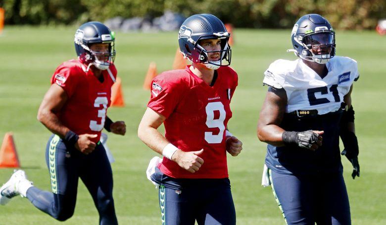 Quarterback Jake Luton (9) during Seahawks practice, Sept. 8, 2021 in Renton. (Ken Lambert / The Seattle Times)