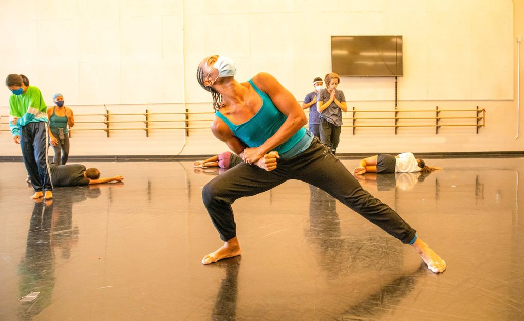 """Chamber Dance Company member Abdiel Jacobsen rehearses Camille A. Brown's """"City of Rain"""" earlier this year. (Jim Coleman)"""