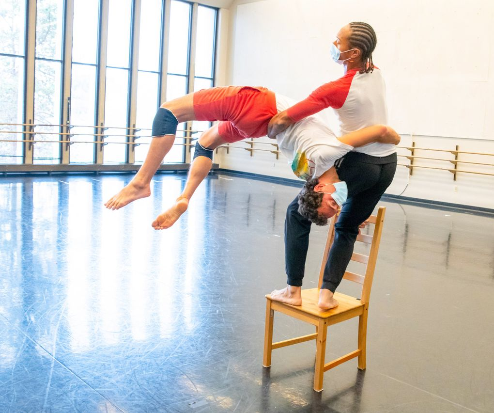"""Chamber Dance Company members Roel Seeber and Abdiel Jacobsen rehearse Zvi Gotheiner's """"Chairs"""" earlier this year. (Jim Coleman)"""
