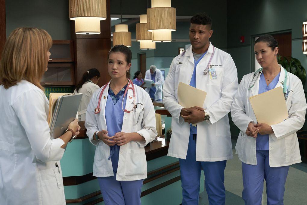 "Peyton Elizabeth Lee, second from left, Jeffrey Bowyer-Chapman and Mapuana Makia in ""Doogie Kamealoha, M.D."" (Karen Neal / Disney)"