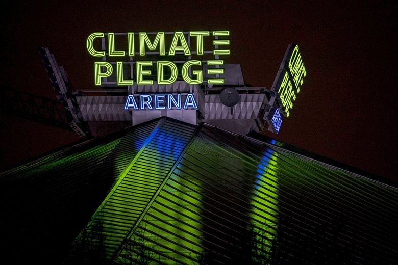 Climate Pledge Arena is seen in December. (Amanda Snyder / The Seattle Times)