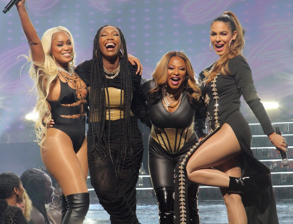 """Eve, Brandy, Naturi Naughton and Nadine Velazquez star in """"Queens,"""" about four estranged women in their 40s who reunite for a chance to recapture the fame and swagger they had as a '90s hip-hop group. (Kim Simms / ABC)"""