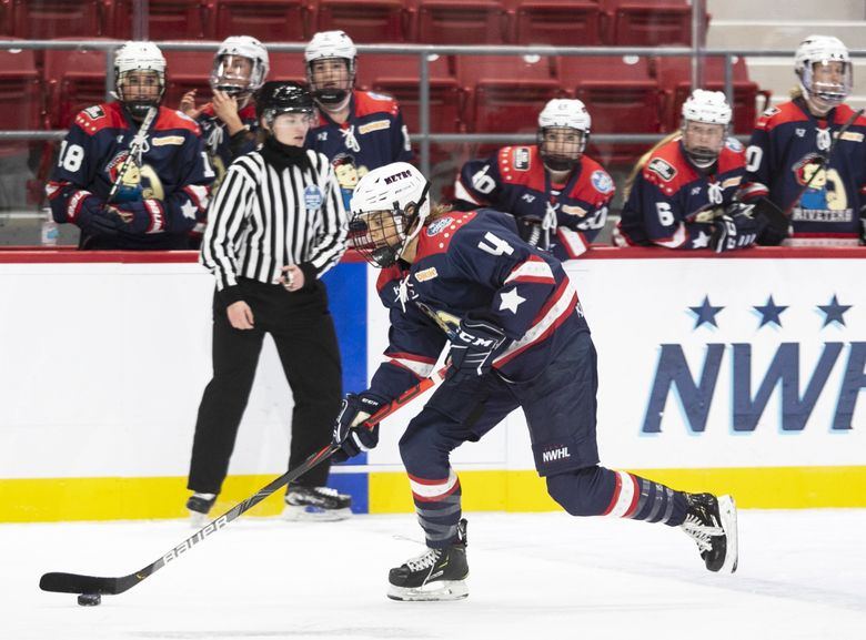 Metropolitan Riveters forward Emily Janiga in a game in Lake Placid, NY on Jan 24, 2021. (Michelle Jay)