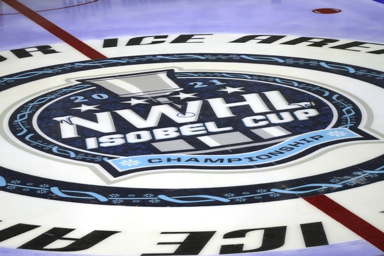 The center ice logo before the start of a NWHL hockey playoff game between the Boston Pride and Toronto Six, March 26, 2021, in Boston. (Mary Schwalm / AP)