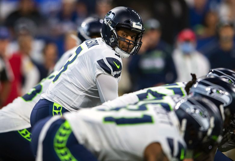 Seattle Seahawks quarterback Russell Wilson (3) looks out to his receiver during an NFL football game against the Indianapolis Colts, Sunday, Sept. 12, 2021, in Indianapolis. (Zach Bolinger / The Associated Press)