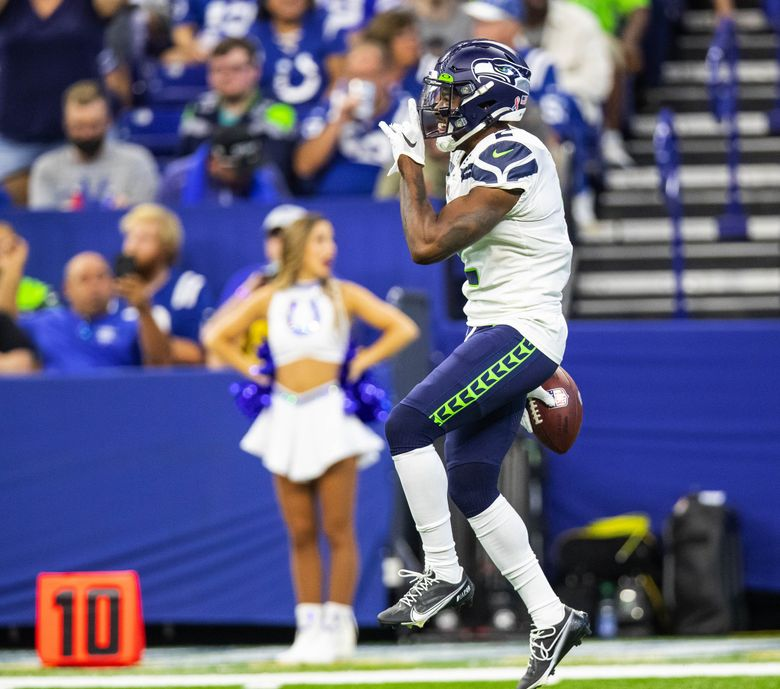 D.J. Reed quiets the Indianapolis fans after a fumble recovery in the third quarter of the Seahawks' victory in Indianapolis on Sunday.  (Dean Rutz / The Seattle Times)
