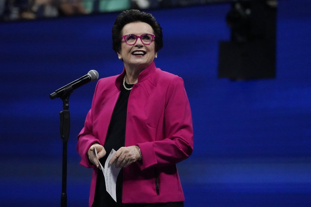 """Tennis star and activist Billie Jean King speaks about her new memoir, """"All In: An Autobiography,"""" on Sept. 23 in an online event through Seattle Arts & Lectures. (Elise Amendola / The Associated Press)"""