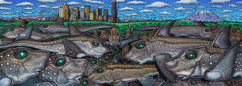 """""""Ratfish Empire"""" by Ray Troll is part of the """"Cruisin' Around Washington"""" exhibit at the Burke Museum. (Courtesy of Burke Museum)"""