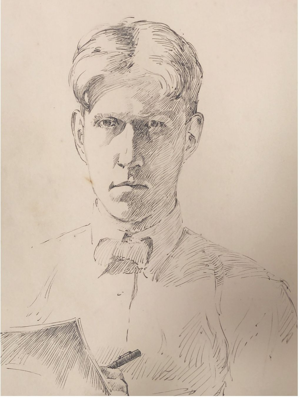 A self-portrait by artist Dines Carlsen, whose works are on display at the National Nordic Museum.  (Courtesy of the National Nordic Museum)
