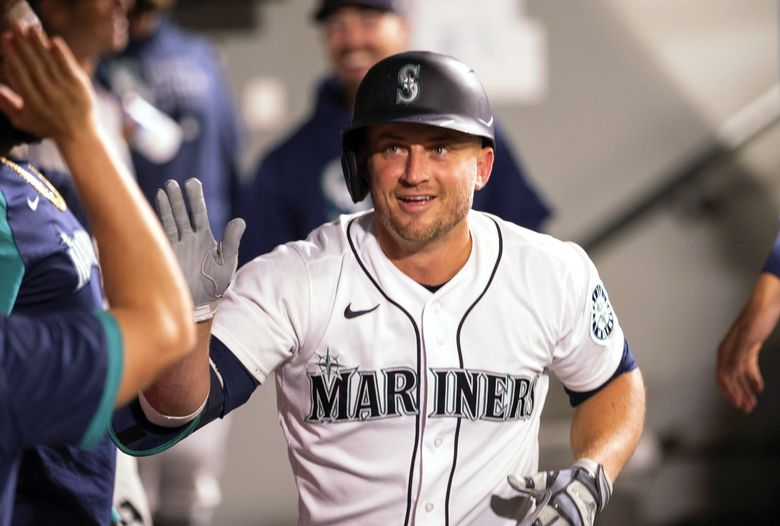 Kyle Seager, who has hit 34 homers this season, was honored for his off-the-field work Tuesday, Sept. 14, 2021. (Dean Rutz / The Seattle Times)