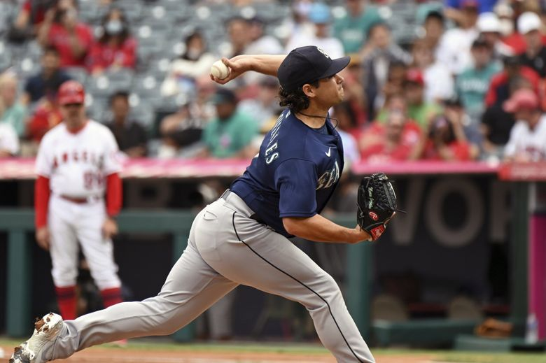 Seattle Mariners pitcher Marco Gonzales throws to home plate during the first inning of a baseball game against the Los Angeles Angels, Sunday, Sept. 26, 2021, in Anaheim, Calif. (Michael Owen Baker / The Associated Press)
