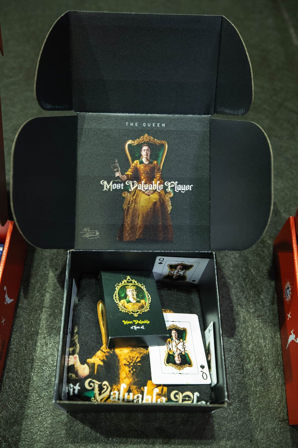 Some of the items sent to voters for WNBA MVP are shown Friday, including the Storm's 'Queen' campaign for Breanna Stewart. (Dean Rutz / The Seattle Times)