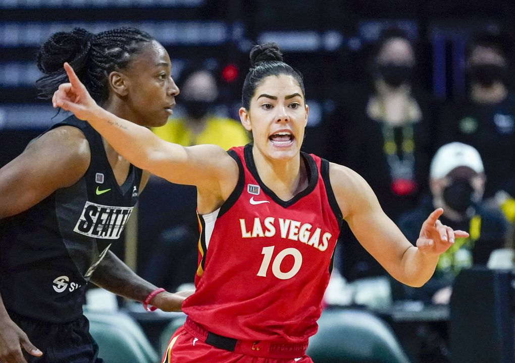 Las Vegas Aces guard Kelsey Plum in action against the Seattle Storm during WNBA basketball game Saturday, May 15, 2021, in Everett, Wash. (Elaine Thompson / AP)