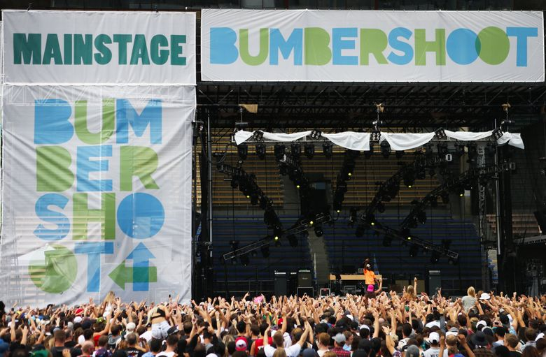 Rapper ScHoolboy Q performs to a large crowd on the main stage during Bumbershoot at Seattle Center on Aug. 31, 2014. (Lindsey Wasson / The Seattle Times)
