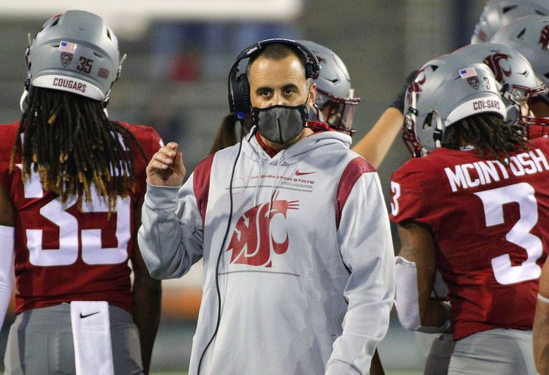 Washington State head coach Nick Rolovich looks on during the second half of an NCAA college football game against Utah State, Saturday, Sept. 4, 2021, in Pullman, Wash. (Young Kwak / The Associated Press)