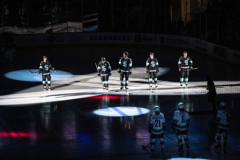 The Seattle Kraken take the ice for the first time against the Vancouver Canucks in exhibition play Sunday. The team made a great first impression with a 5-3 win.(Dean Rutz / The Seattle Times)
