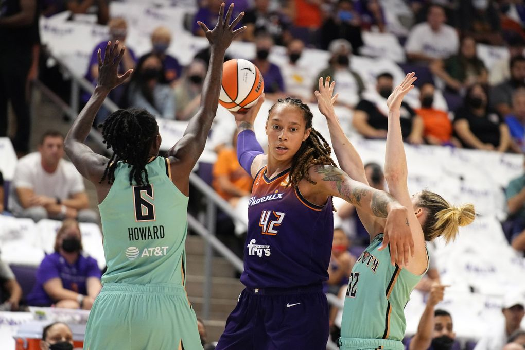 Phoenix Mercury center Brittney Griner (42) during the second half in the first round of the WNBA basketball playoffs against the New York Liberty, Thursday, Sept. 23, 2021, in Phoenix. Phoenix won 83-82. (Rick Scuteri / The Associated Press)