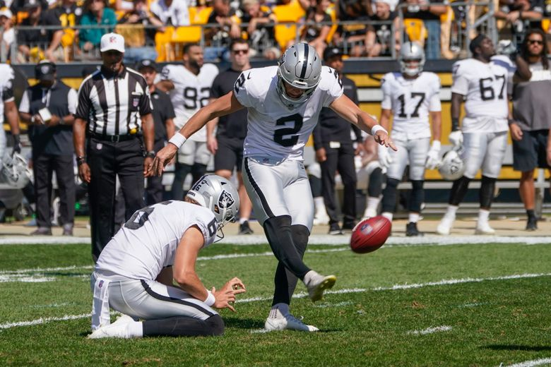 Raiders kicker Daniel Carlson (2) was too good for his own good. (Keith Srakocic / AP)