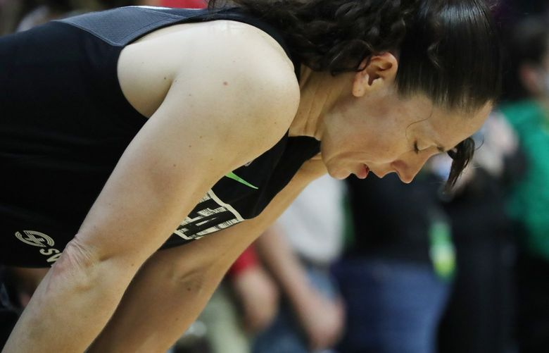 The Seattle Storm's Sue Bird isn't happy with Seattle down by 5 with less than 30 seconds left in overtime against the Phoenix Mercury during second round playoff game, Sunday, Sept. 26, 2021 in Everett. 218301