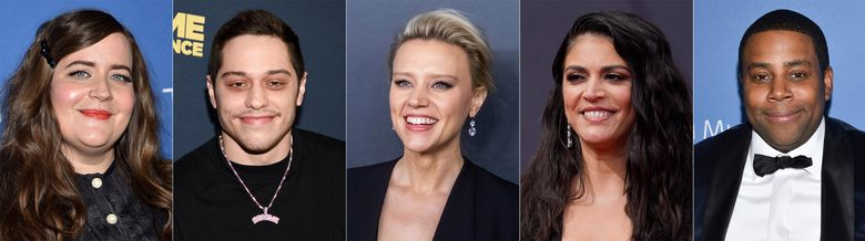 """This combination of photos shows cast members from """"Saturday Night Live,"""" from left, Aidy Bryant, Pete Davidson, Kate McKinnon, Cecily Strong and Kenan Thompson, who will return for the 2021-22 season of the sketch comedy series. (AP Photo)"""