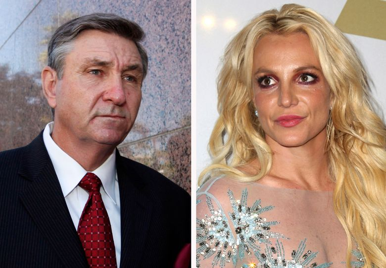 Jamie Spears, left, father of Britney Spears, seen in 2012, and Britney Spears in 2017. Britney Spears' father has filed to end the court conservatorship that has controlled the singer's life and money for 13 years. James Spears filed his petition to end the conservatorship in Los Angeles Superior Court on Tuesday. (AP Photo/file)
