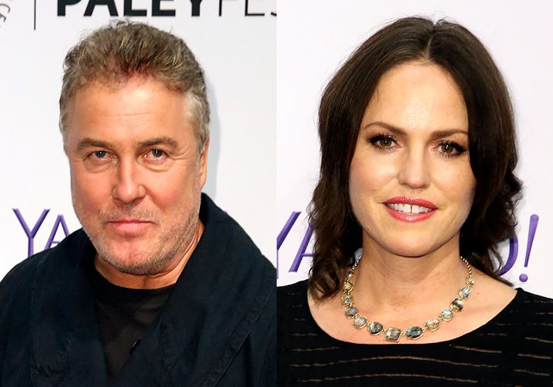 """This Sept. 16, 2015 combination file photo shows William Petersen, left and Jorja Fox at the 2015 PaleyFest Fall TV Previews in Beverly Hills, Calif. The actors who first starred together on """"CSI: Crime Scene Investigation"""" in the early aughts are back together for """"CSI: Vegas,"""" premiering Oct. 6, 2021 on CBS. (Photos by Rich Fury/Invision/AP, File)"""