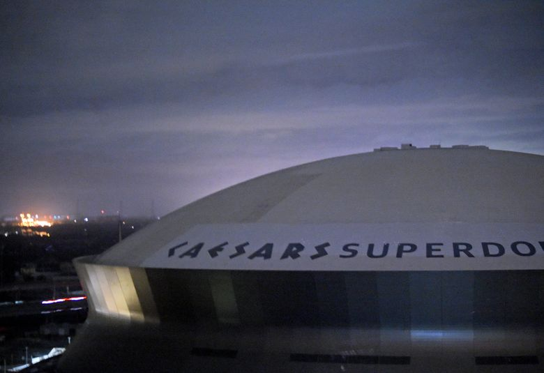 FILE – This early Monday, Aug. 30, 2021, file photo, shows the Caesars Superdome, home of the New Orleans Saints NFL football team in New Orleans, La., after Hurricane Ida.  The NFL announced Wednesday, Sept. 1, 2021, that the Saints will host the Green bay Packers in Jacksonville, Fla., in a Sept. 12 season opener after being displaced by Hurricane Ida. (Max Becherer/The Times-Picayune/The New Orleans Advocate via AP)