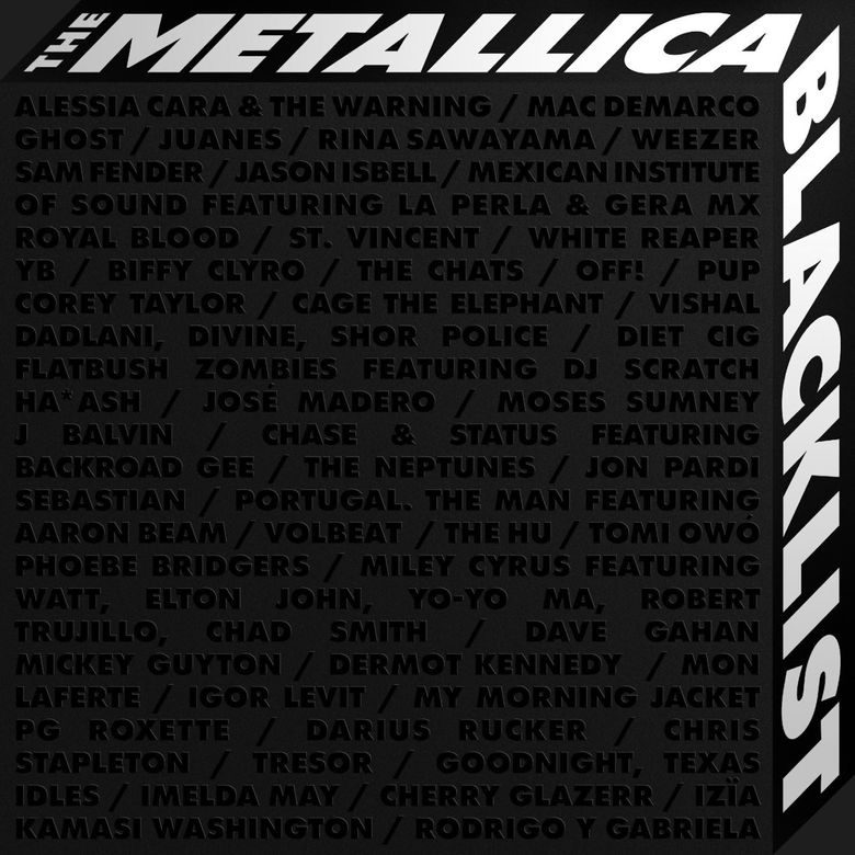 """This cover image released by Rhino/Blackened Recordings shows """"The Metallica Blacklist,"""" performed by various artists. (Rhino/Blackened Recordings via AP)"""
