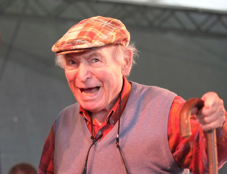 Newport Jazz Festival producer and co-founder George Wein appears onstage at the Newport Jazz Festival in Newport, R.I., on Aug. 4, 2013. Wein, an impresario of 20th century music who helped found the Newport Jazz and Folk festivals and set the template for gatherings everywhere from Woodstock to the south of France, died Monday, Sept. 13, 2021. He was 95. (AP Photo/Joe Giblin, File)