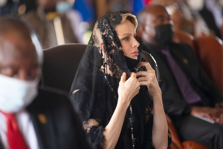 """FILE — In this March 18, 2021 file photo Charlene, Princess of Monaco attends the memorial service for Zulu King Goodwill Zwelithini in Nongoma, South Africa. Officials in the principality of Monaco said Friday, Sept. 3, 2021 that Princess Charlene is in """"stable"""" condition, following South African media reports that she was unwell. Princess Charlene, 43, who is married to Monaco's ruler, Prince Albert II, has been on an extended stay in her home country of South Africa(Phill Magakoe/Pool Photo via AP, File)"""