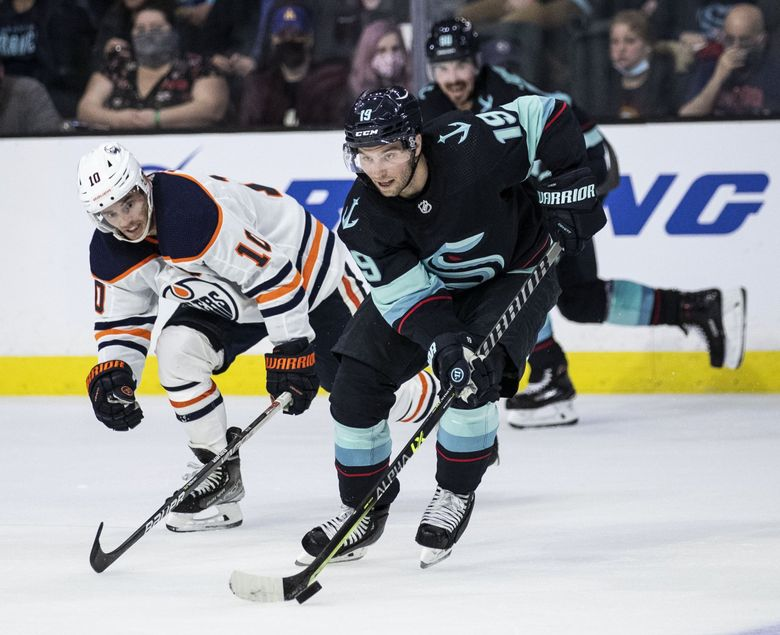 Seattle Kraken's Calle Jarnkrok (19) controls the puck during a game against the Edmonton Oilers in Everett, Oct. 1, 2021. (Amanda Snyder / The Seattle Times)