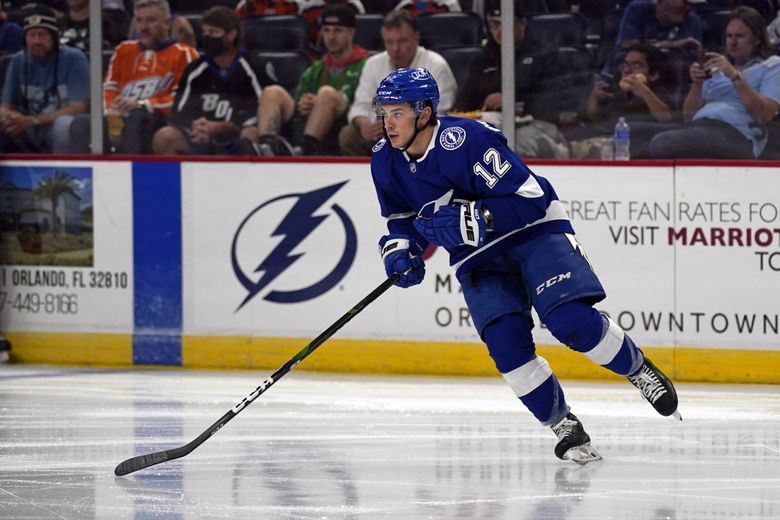 Tampa Bay Lightning's Alex Barre-Boulet during a preseason game against the Florida Panthers, Oct. 5, 2021, in Orlando, Fla. (John Raoux / AP)