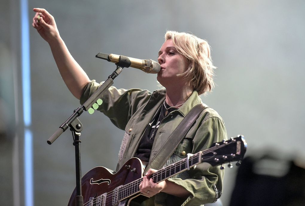 """Touring in 2021 is """"like trying to tour in a Cormac McCarthy novel,"""" says Brandi Carlile, shown here performing during Eddie Vedder's Ohana Festival in Dana Point, California, on Sept. 26, 2021. """"You literally feel like you're touring the apocalypse."""" (Richard Shotwell / Invision / The Associated Press)"""