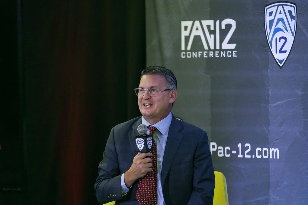 Washington State head coach Kyle Smith speaks during Pac-12 Conference NCAA college basketball media day Wednesday, Oct. 13, 2021, in San Francisco.  (Jeff Chiu / The Associated Press)