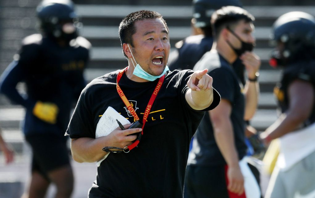 Lincoln football coach Masaki Matsumoto was born in Japan and picked up football while growing up in Shoreline. (Ken Lambert / The Seattle Times)